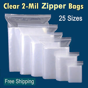 Clear Reclosable Zip Lock Plastic 2 mil Ziplock Bags Poly Jewelry Zipper Baggie