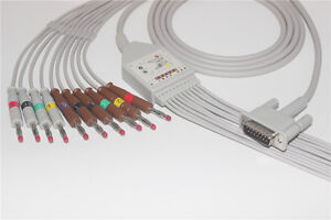 Philips M3703c Compatible 10 lead Ekg Cable 15 Pins Iec K1213b