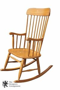 Large 9 Spindle Sheraton Style Ash Rocking Chair Turned Legs Curved Arms Ships