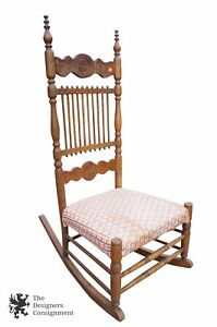 Antique Colonial Revival Spindle Back Upholstered Rocking Chair Ornate Carvings