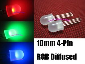 500pcs 10mm 4 pin Tri color Rgb Diffused Common Cathode Red Green Blue Led Leds
