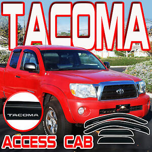 Toyota Tacoma 2005 2015 Access Extended Cab Window Deflectors With Logo Visors