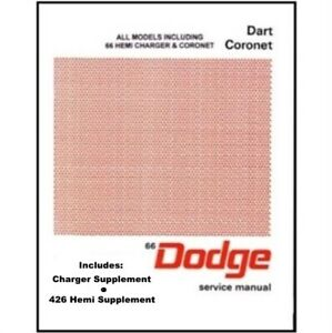 Factory Shop Service Manual For 1966 Dodge Charger Coronet Dart
