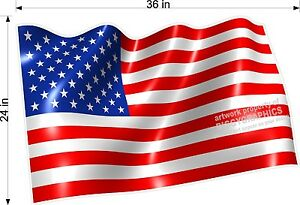 New Laminated 36 Large Wavy American Flag Us Vinyl Decal Rv Car Truck Windows