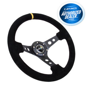 Nrg Deep Dish Steering Wheel 350mm Black Suede Black Center Yellow Marking