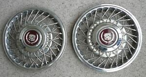 1984 To 88 Cadillac 14 In pair Of Wire Wheel Hub Caps