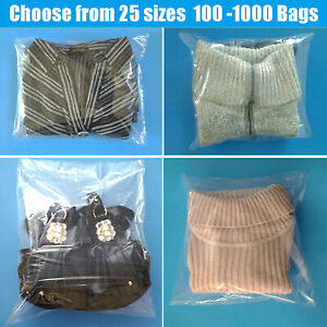 Clear Plastic Flat 1 mil Poly Open Top Bags T shirts clothing Small large