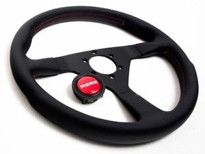 Momo Monte Carlo Steering Wheel 320mm Black With Red Stitching Mcl32bk3b