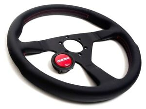 Momo Monte Carlo Steering Wheel 350mm Black With Red Stitch Mcl35bk3b