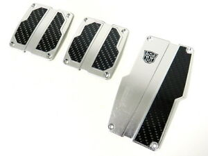 3pc Universal Racing Aluminum Carbon Autobot Pedal Pad Covers Mt Manual Trans