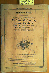 Ih International Harvester Mccormick Deering B 110 B 111 Corn Planter Manual 41