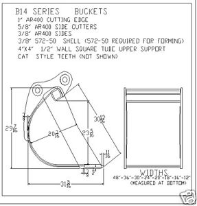 Bucket 12 Fits Excavator Or Loader Backhoe 14000 16000 Lbs New