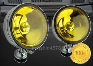 6 Off Road Yellow Chrome Housing Fog Lights Switch Bulbs Jeep Rv Suv Truck