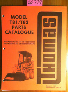 Thomas T81 T83 Skid Steer Parts Catalog Manual 23077 5 10 87