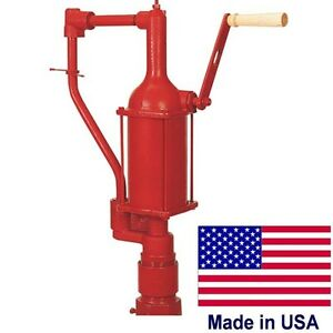 Iron Hand Pump Fuel Transfer 1 Quart Or Liter Per Stroke Industrial Usa