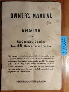 Ih International Mccormick deering 62 Harvester thresher Engine Manual 5190 6 41
