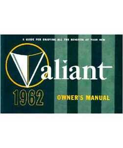 Factory Owner S Manual For 1962 Plymouth Valiant A Body