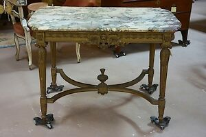Antique Italian Marble Topped Console Table Writing Desk Gilt Handcarved
