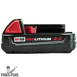 Milwaukee 18 Volt M18 Red Lithium 2 0 Compact Battery 48 11 1820 New