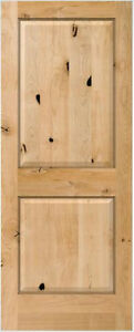 Knotty Alder 2 Panel Square Raised Solid Core Interior Wood Doors 6 8 Height