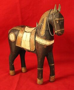 Antique Folk Art Wooden Horse Brass Copper Adornments