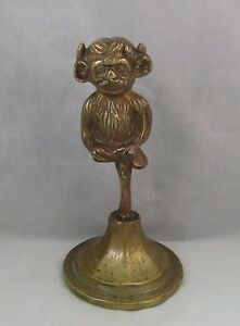 Antique English Bronze Paperweight With Lincoln Imp Great Patina Monkey