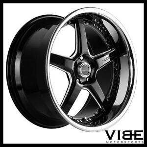 20 Vertini Drift Black Five Star Wheels Rims Fits Ford Mustang Gt Gt500