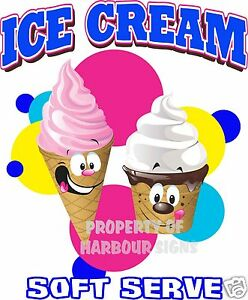 Ice Cream Soft Serve Decal Large 24 Concession Restaurant Food Truck Cart