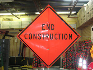 End Construction Sign Fluorescent Vinyl With Ribs 48 x48 Roll Up Sign