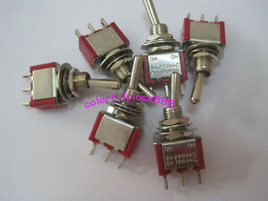 50pcs Red Mini Toggle Switches On On Car Diy Switch 2a 250vac 5a 120vac 3 pin