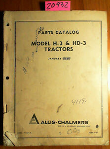 Allis chalmers Model H 3 Hd 3 Tractor Parts Catalog Manual D 57 1 66