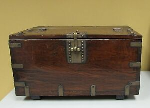 Antique Korean Storage Miniature Chest Box Coin Ton Kwe 19th