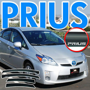 2010 2015 Prius Side Window Deflectors Rain Visors Sun Vent Shade Guard W Logo