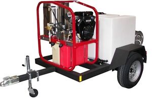Commercial 200 Gallon Hot Pressure Washer Trailer 3 000 Psi 4 Gpm