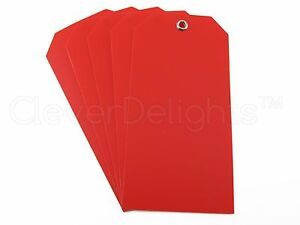 200 Red Plastic Tags 4 75 X 2 375 Tearproof Inventory Id Price Tags