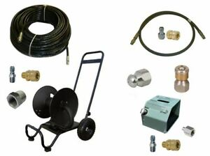 Sewer Jetter Cleaner Kit Hd Foot Valve 200 X 1 4 Hose Reel And Nozzle