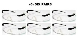 6 Six Pairs Of Crews Desperado Safety Shooting Glasses Black clear New
