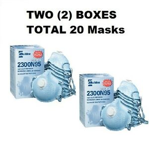 Two 2 Boxes Of 10 Moldex 2300 N95 Dust Mask Respirators W exhale Valve New