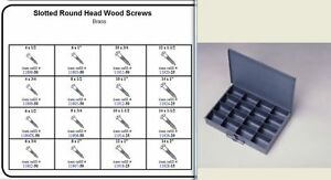 Brass Round Head Wood Screw Assortment In Large Metal Tray