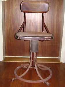 Antique Industrial Metal Wood Machinist Stool W Cane Seat
