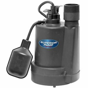 Superior Pump 92250 1 4 Hp Thermoplastic Submersible Sump Pump W Tether Fl