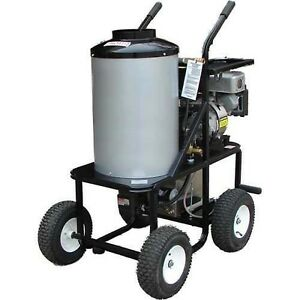 Portable Hot Water Pressure Washer Gas 1 4 Gal Wheels 3 000 Psi 18 Hp