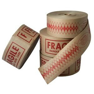 Fragile Printed Kraft Reinforced Activated Tape 3 X 375 72mm 8 Rolls Per Case