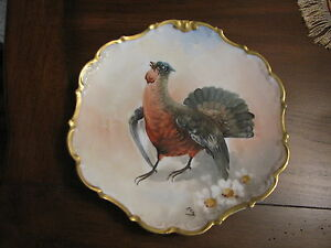 Antique Limoges Porcelain Hand Painted Plate Charger Grouse Woodcock Sign Rey