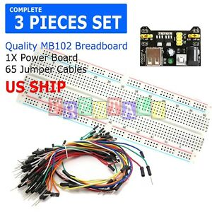 Mb 102 830 Point Prototype Pcb Breadboard 65pcs Jump Cable Wires power Supply