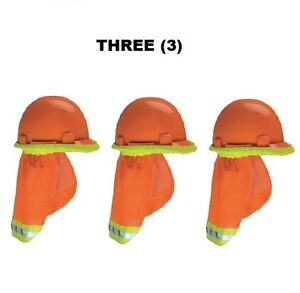 1 Set Of 3 Ea 10098031 Sun Shades For Hardhats Hi viz W reflective Stripes