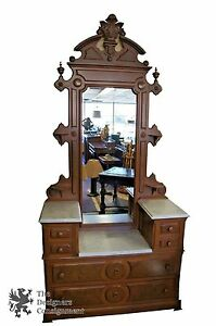 Antique Washstand 2 Tier Marble Top Eastlake Washstand W Mirror Dresser Walnut