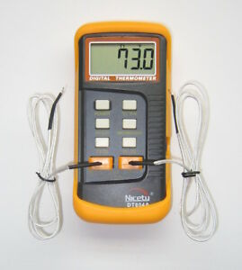 Digital Scientific Dual Sensor K type Thermocouple Thermometer Two 2 Probe 804a