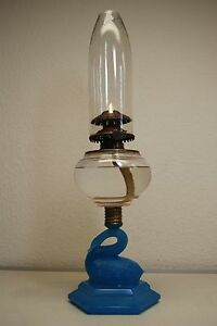 Antique Old Kerosene Oil Atterbury Boston Sandwich Glass Victorian Eapg Lamp