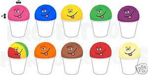 10 Flavors 6 x4 Each Shaved Ice Italian Hawaiian Sno balls Concession Decals